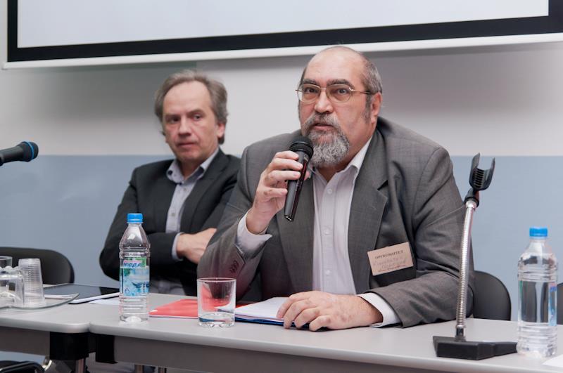 Андрей Олейников и Константин Морозов на съезде профсоюза