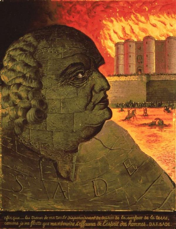 Ман Рэй. Воображаемый портрет де Сада (на фоне горящей Бастлии), 1938.