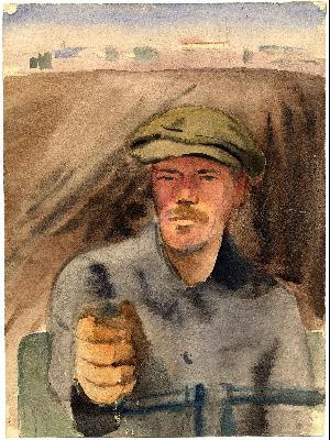 Густав Клуцис. Портрет стахановца Лейнерта, 1936