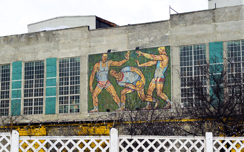 Панно Тяжмаша в Мариуполе; авторы: В. Константинов, Л. Кузьминков