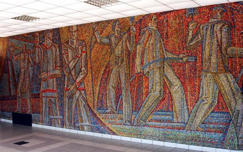 Мозаики инженерного корпуса Азовмаша; автор: Лель Кузьминков