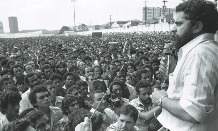 Лула на первомайском митинге 1980 года