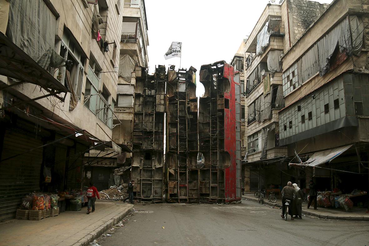 Баррикады в Алеппо, март 2015.